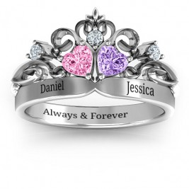 Sterling Silver Royal Romance Double Heart Tiara Ring with Engravings