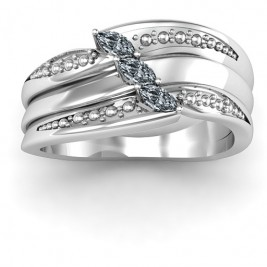 Sterling Silver Shimmering Triple-Marquise Ring