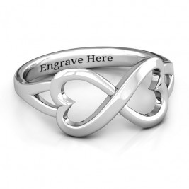 Sterling Silver Simple Double Heart Infinity Ring