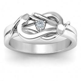 Sterling Silver Snake Lover's Knot Ring