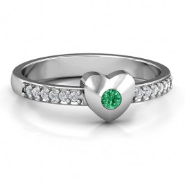 Sterling Silver Solid Heart with Micro Pave Accents Ring