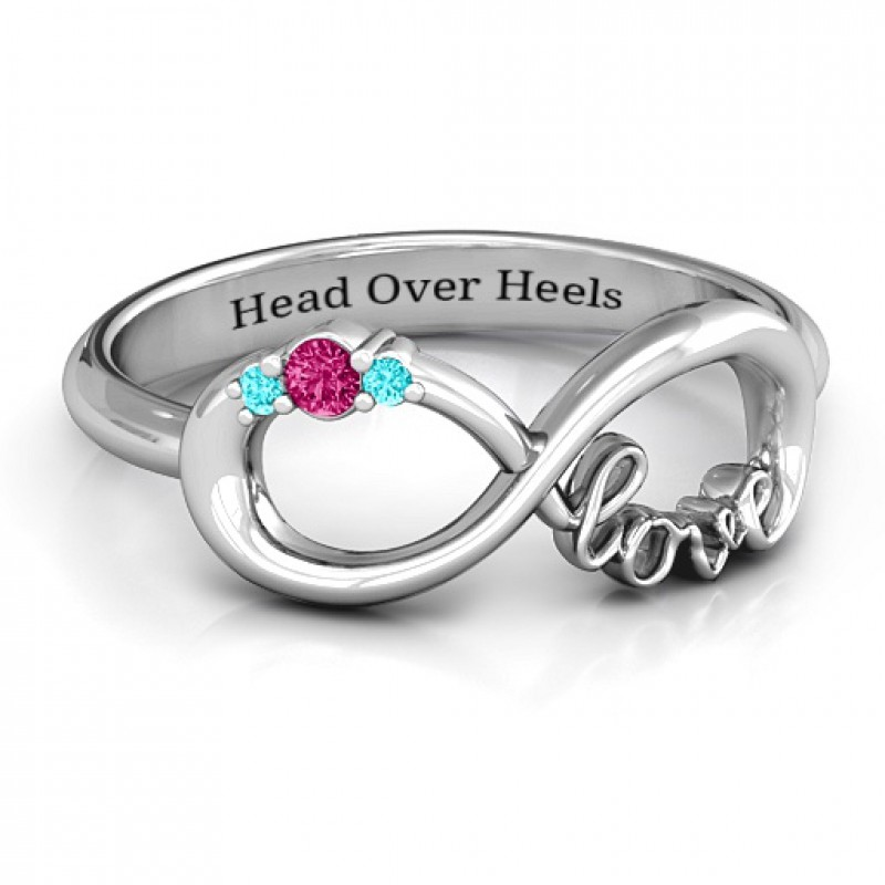 Sterling Silver Sparkly Love Infinity Ring
