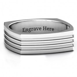 Sterling Silver Stria Grooved Square-shaped Men's Ring