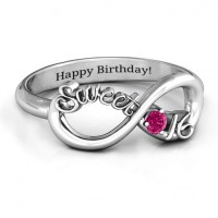 Sterling Silver Sweet 16 with Birthstone Infinity Ring