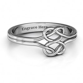 Sterling Silver Tangled Hearts Infinity Ring