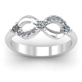 Sterling Silver Three Stone Infinity Ring with Accents