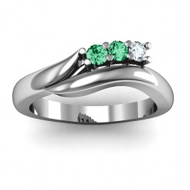 Sterling Silver Three Stone Single Bypass Ring