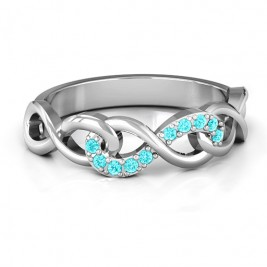 Sterling Silver Triple Entwined Infinity Ring with Accents