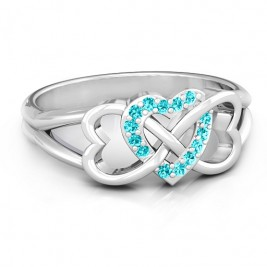 Sterling Silver Triple Heart Infinity Ring with Mint Swarovski Zirconia Stones