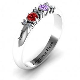 Sterling Silver Twin Circular Half Bezel Twin Accent Ring