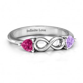 Sterling Silver Two Hearts to Infinity Ring