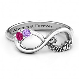 Sterling Silver Two Stone Promise Infinity Ring