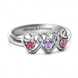 Three's Company Triple Heart Gemstone Ring