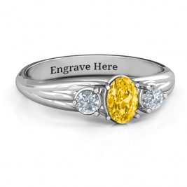 Three Stone Oval Centre Ring