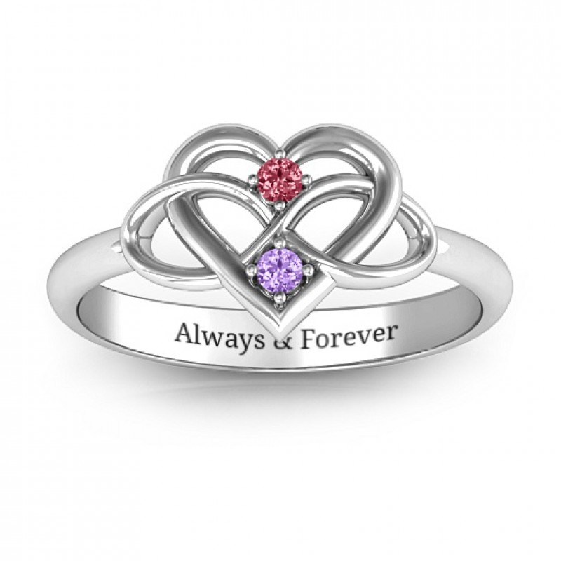 Personalised Rings Together Forever Two Stone Ring