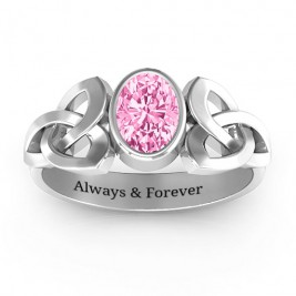 Trinity Knot Ring With Bezel-Set Oval Stone