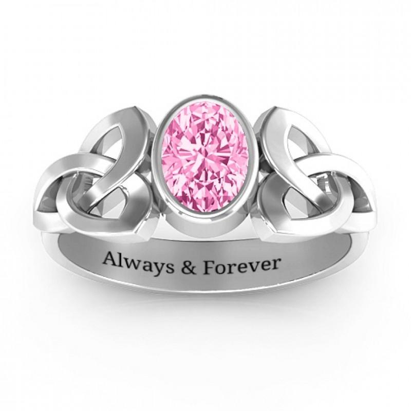 Trinity Knot Ring With Bezel Set Oval Stone