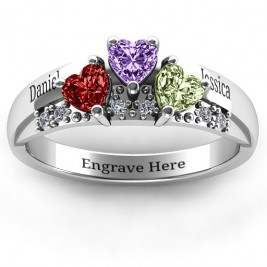 Tripartite Heart Gemstone Ring with Accents