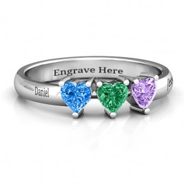 Triple Heart Stone Ring