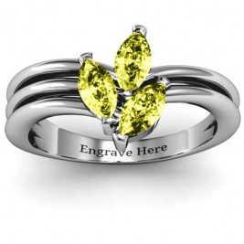 Triple Marquise Collage Ring