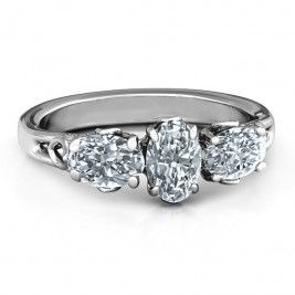 Triple Oval Stone Engagement Ring