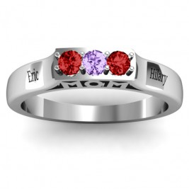 Triple Round Stone MOM Ring