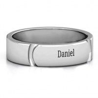 Tungsten Lysander Curved Groove Men's Ring