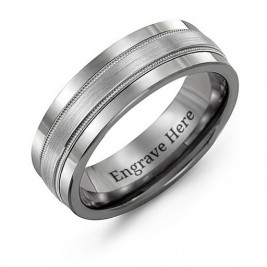 Tungsten Men's Grooved Centre Tungsten Band Ring
