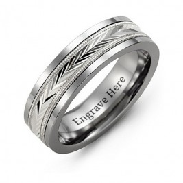 Tungsten Men's Tungsten Diamond Cut Inlay Band Ring