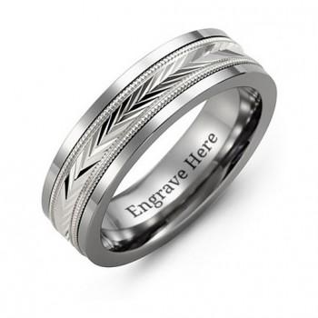 Tungsten Men's Tungsten Diamond Cut Inlay Band Ring