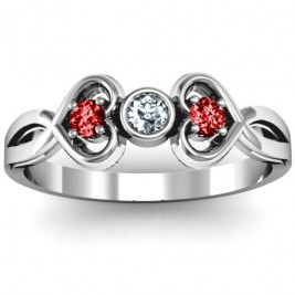 Twin Hearts with Centre Bezel Ring