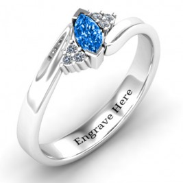 Twisted Marquise Ring with Shoulder Accents