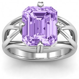Twisted Shank Emerald Cut Stone with Filigree Ring