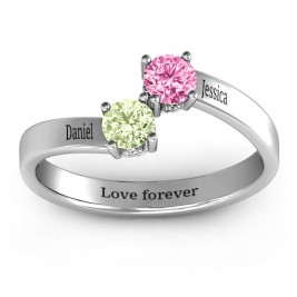 Two Stone Ring With Filigree Settings
