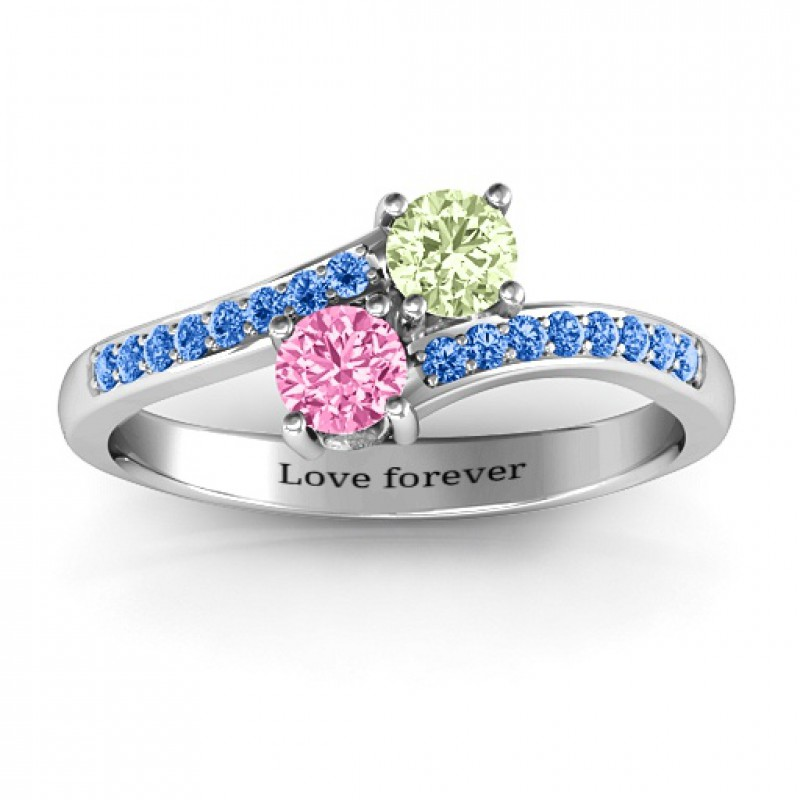 Two Stone Ring With Sparkling Accents And Filigree Settings