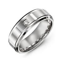 Vertical Diamond-Cut Men's Gemstone Ring with Beveled Edges