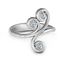 Whimsical Waves 3-Stone Ring