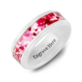 White Ceramic Ring with Colorful Camouflage Centrepiece