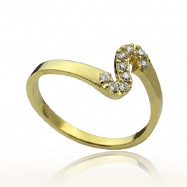 Custom Birthstone Initial Ring 18ct Gold Plated