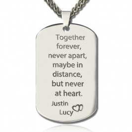 Man's Dog Tag Love Theme Name Necklace
