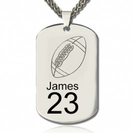 Man's Dog Tag Rugby Name Necklace