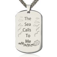 Man's Dog Tag Ocean Theme Name Necklace