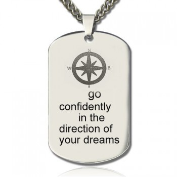 Compass Man's Dog Tag Name Necklace