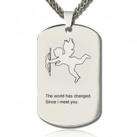 Cupid Man's Dog Tag Name Necklace