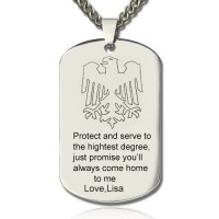 Man's Dog Tag Eagle Name Necklace