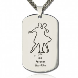 Dancing Theme Dog Tag Name Necklace