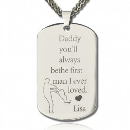 Father's Love Dog Tag Name Necklace
