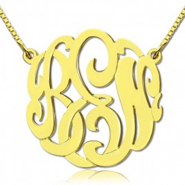 18ct Gold Plated Large Monogram Necklace Hand-painted