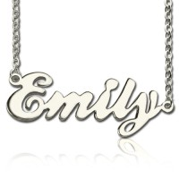 Cursive Script Name Necklace 18ct Solid White Gold