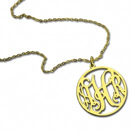 18ct Gold Plated Circle Monogram Necklace